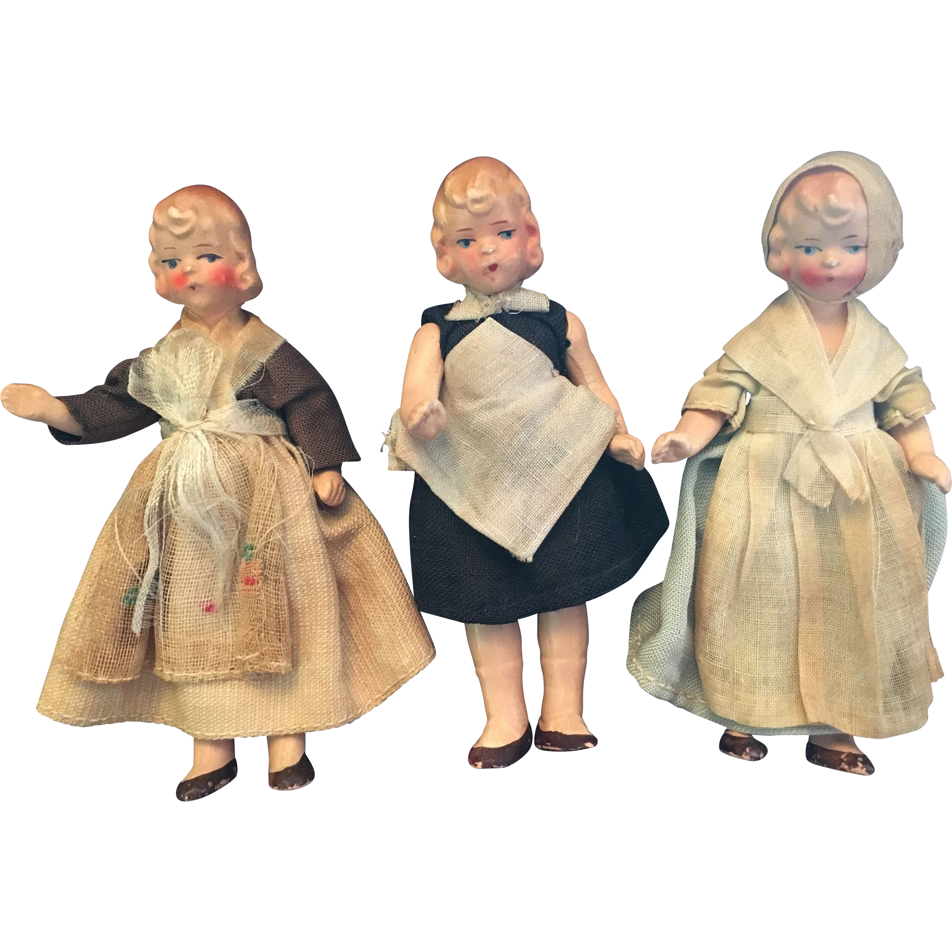 Trio of German Dollhouse Dolls