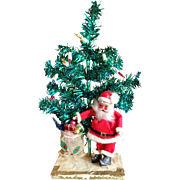 Vintage Santa Claus and Lighted Christmas Tree Figure