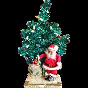 Vintage Santa Claus and Lighted Christmas Tree Figure