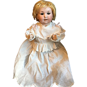 Bisque Head Baby Doll Crier in Christening Gown