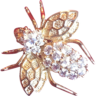 Bumblebee Sterling and Rhinestone Pendant/Brooch
