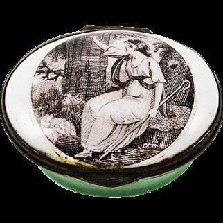 Bilston Battersea Enamel Lady Portrait Patch Box