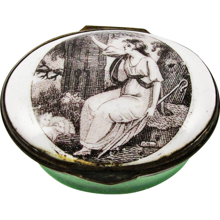 Bilston Battersea Enamel Lady Portrait Patch Box