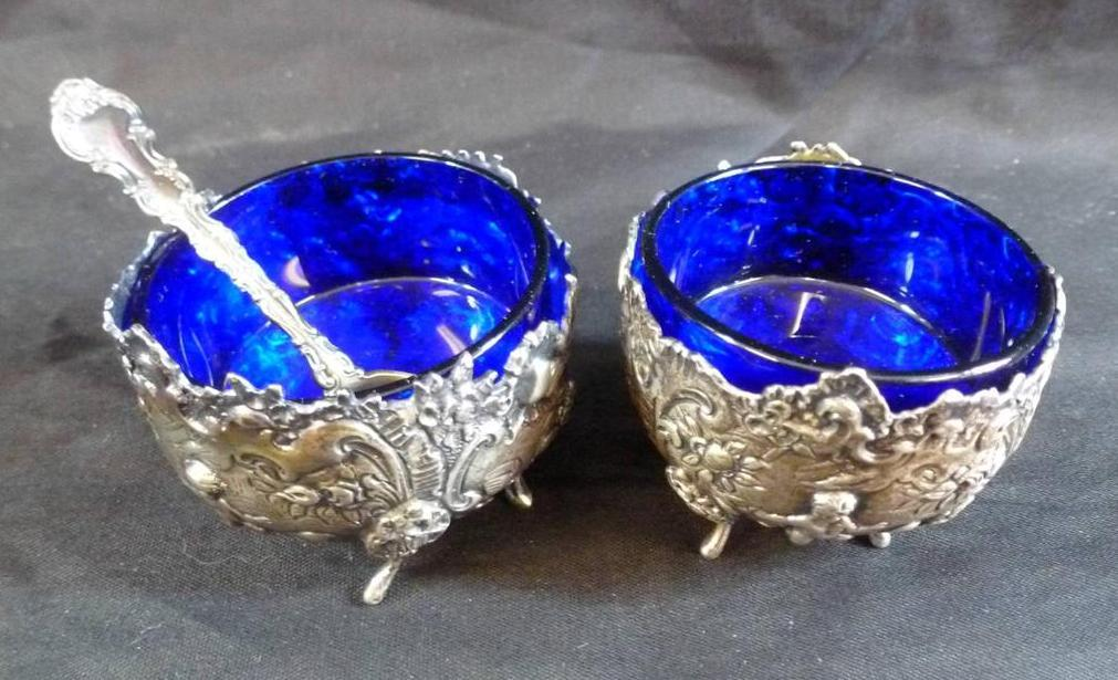 Miniature Cobalt Blue Glass with Silver Holders Salts or Bowls with Spoon