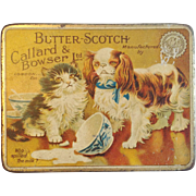 English Butterscotch Candy Tin with Kitten and Puppy