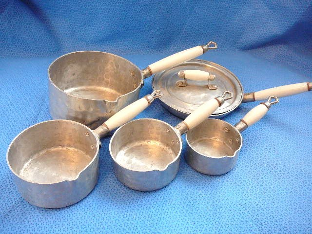Doll or Child's Vintage Hand Hammered Pots and Pans