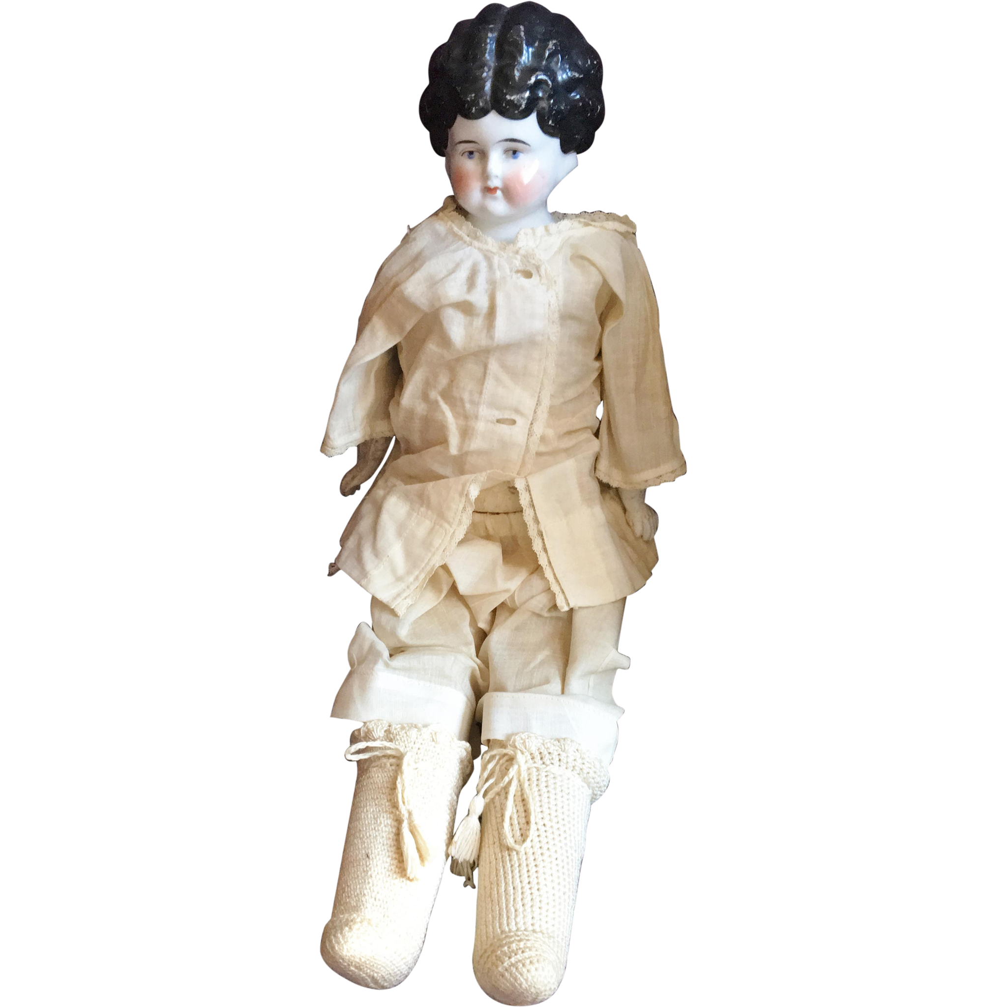 China Head Doll on Kid Leather Body