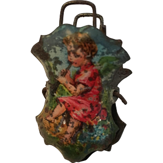 Very Old Tin Lithograph Christmas Tree Candle Clip