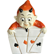 Devil Playing Card Porcelain Container