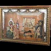 W. Russell Burton Art Gallery Framed Dollhouse Scene Diorama