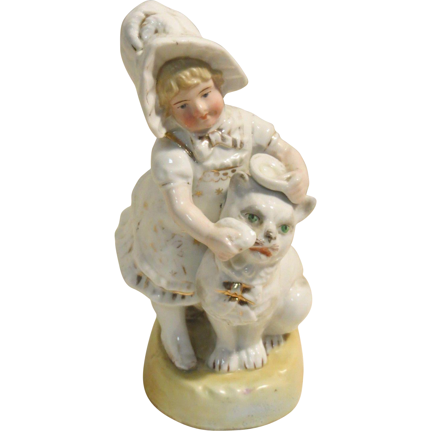 German Girl Bathing Kitty Cat Figurine