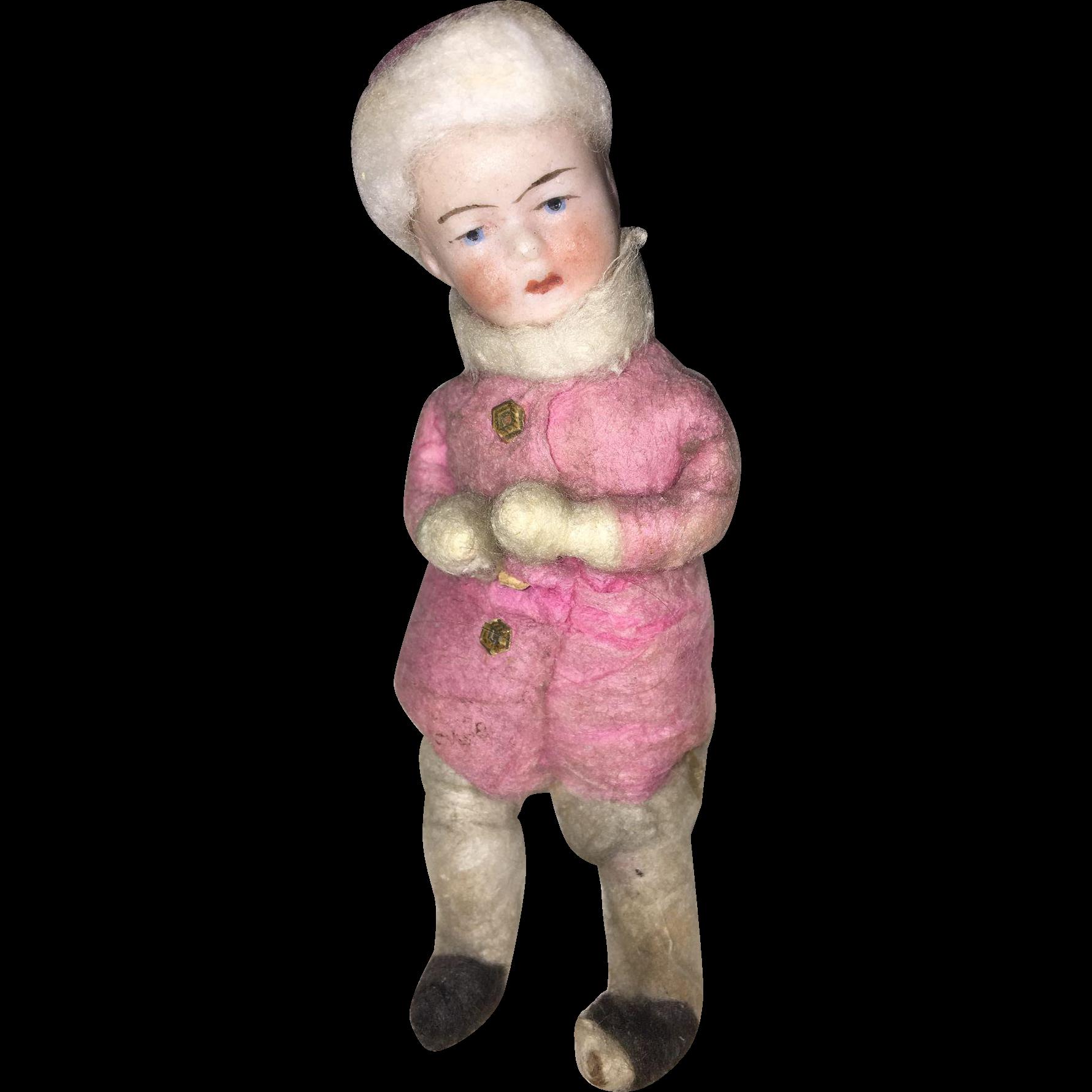 Heubach Miniature Doll Spun Cotton Snow Baby Ornament