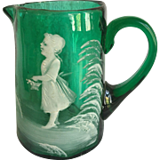 Mary Gregory Green Glass Pitcher with Lady Profile