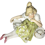 Miniature German Porcelain Bathing Beauty Figurine