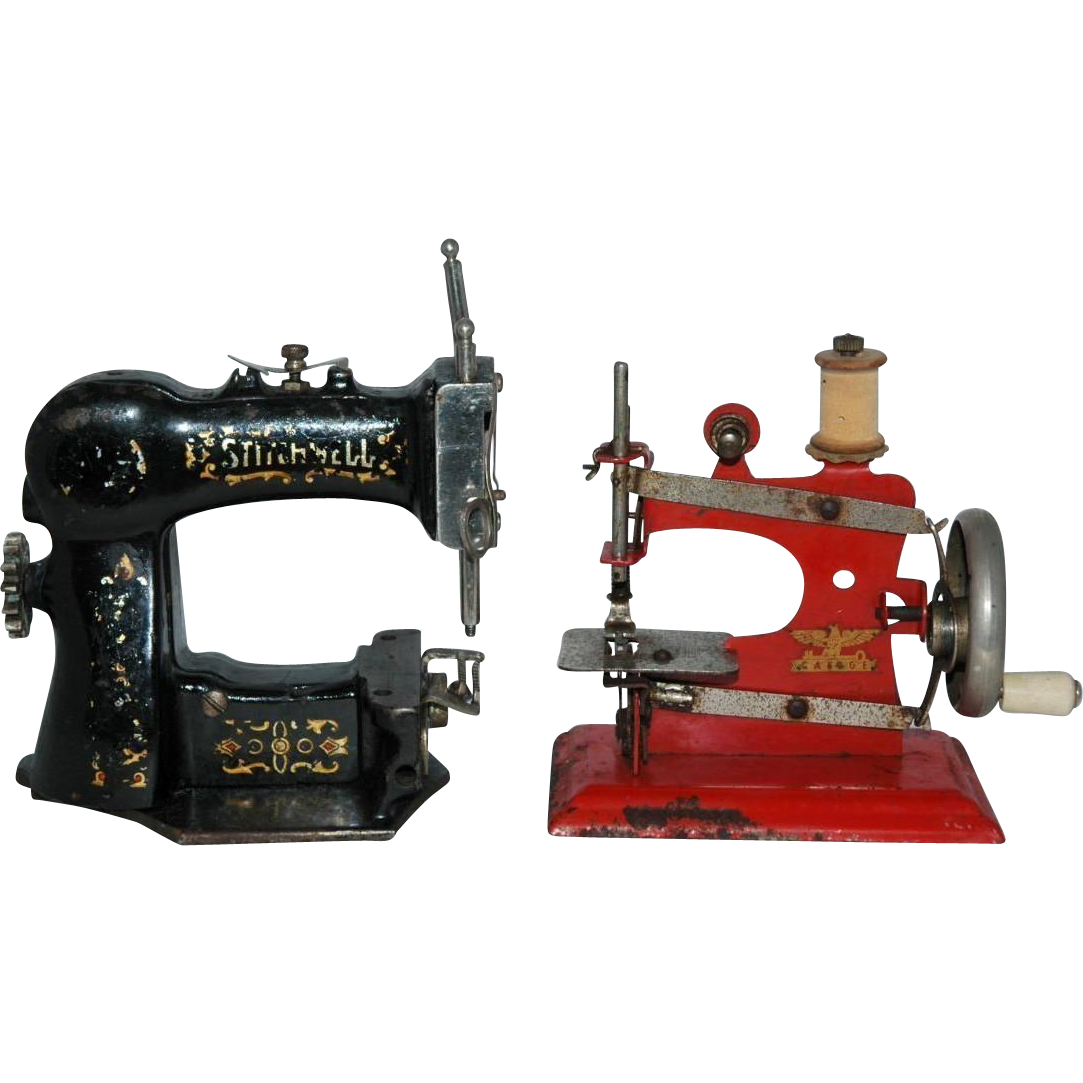 Miniature Sewing Machine Pair Casiege and Stitchwell