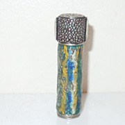 1930's Colored Enameled Shagreen Needle Case