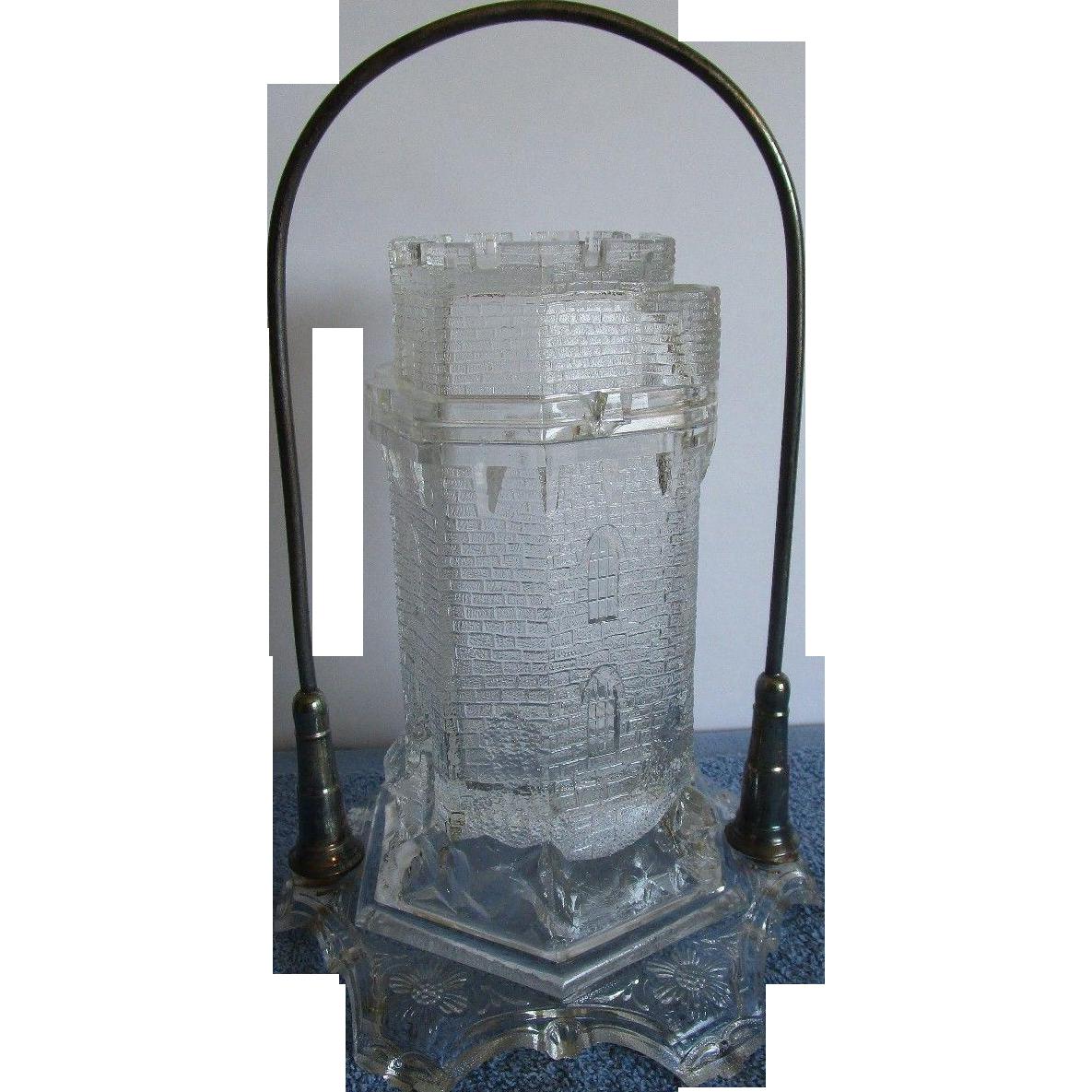 Antique Castle Shaped Figural Pickle Castor Cruet