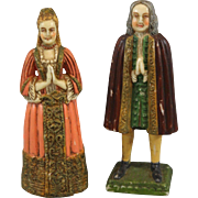 Antique Religious Praying Poured Wax Figurines