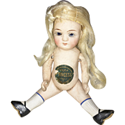 "German All Bisque ""Princess"" Doll with Original Label!"