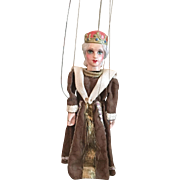 Very Old German Wooden Queen Marionette
