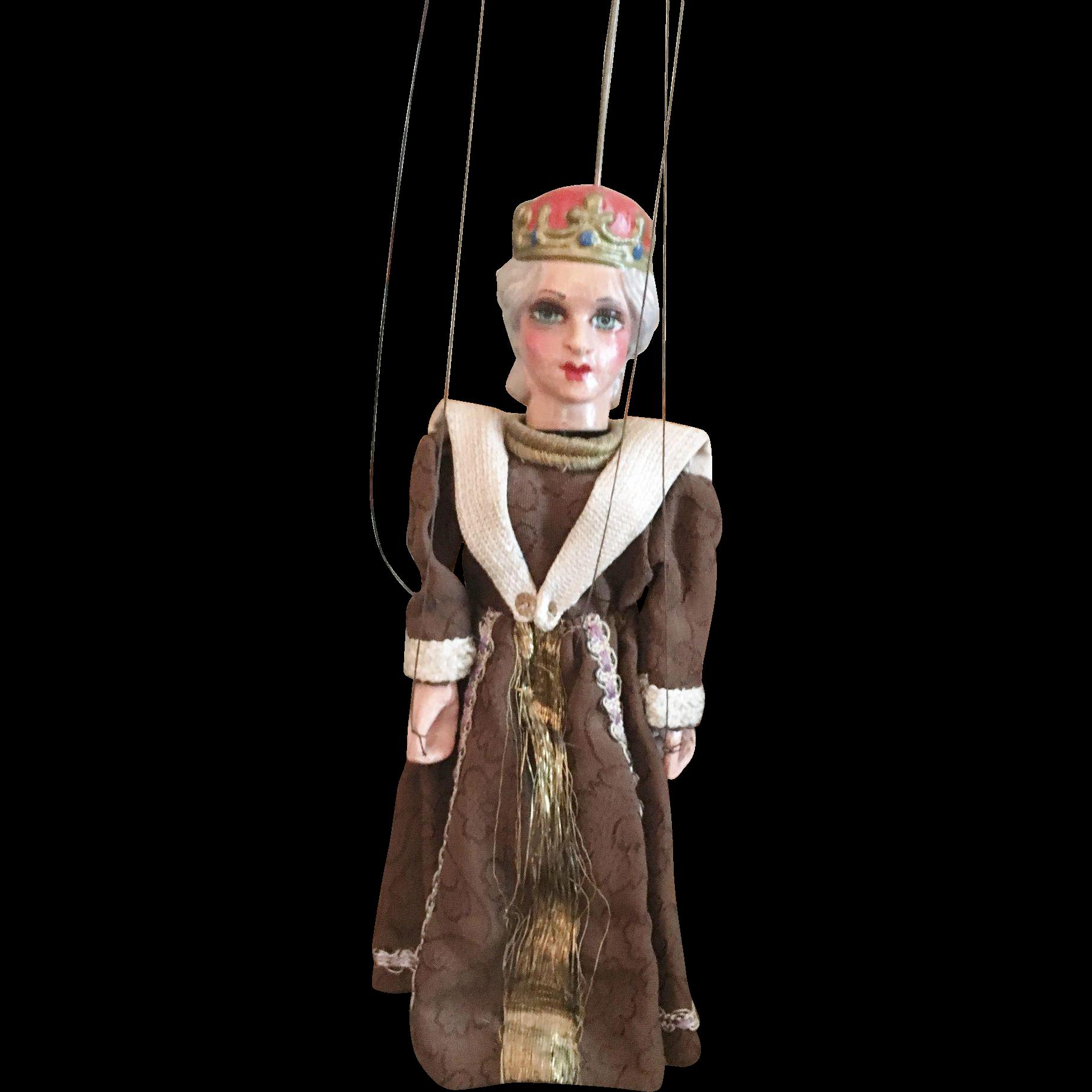 Very Old German Wooden Queen Marionette