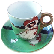 Royal Bayreuth Girl with Dog Cup & Saucer
