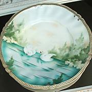 R.S. Prussia Swan Scene Plate