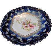R.S. Prussia Cobalt Blue Floral Plate or Shallow Bowl