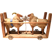 Old German Cart Toy on Wheels with Two Rams or Sheep