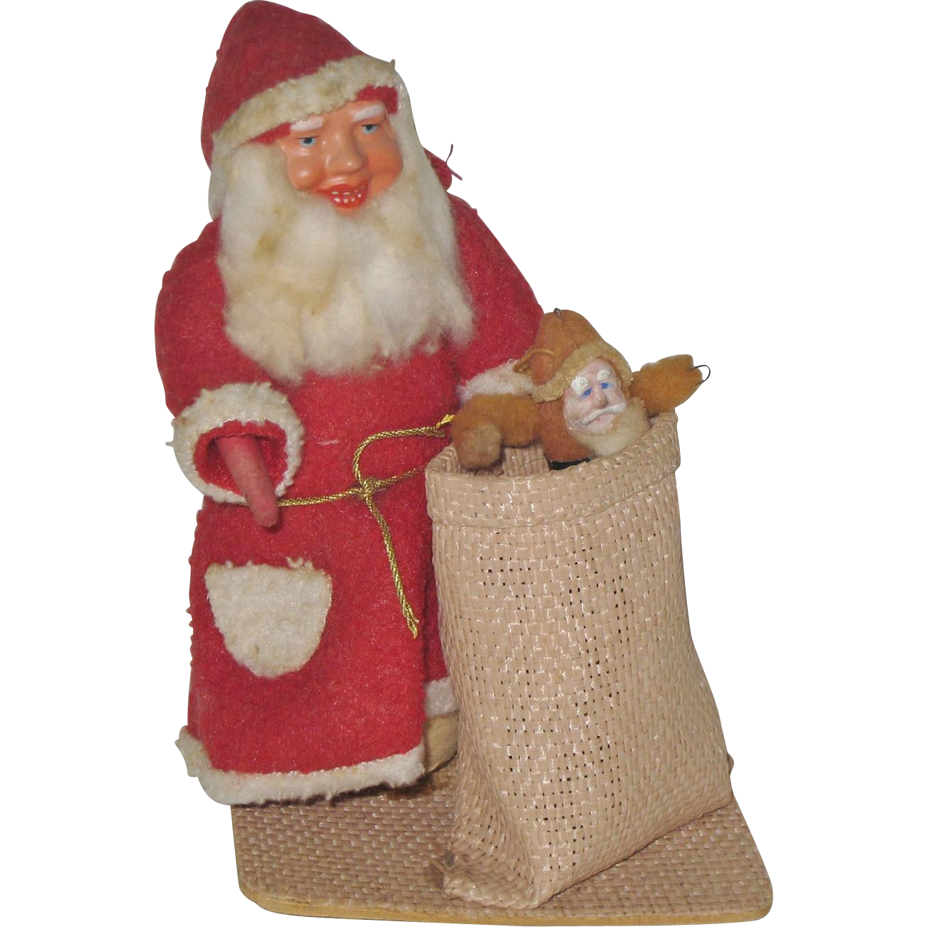 German Composition Face Santa Claus with Sack for Toys or Candy