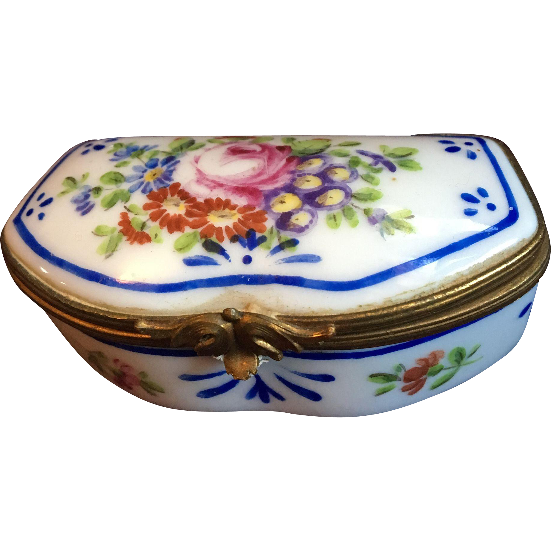 French Limoges Handpainted Patch Box