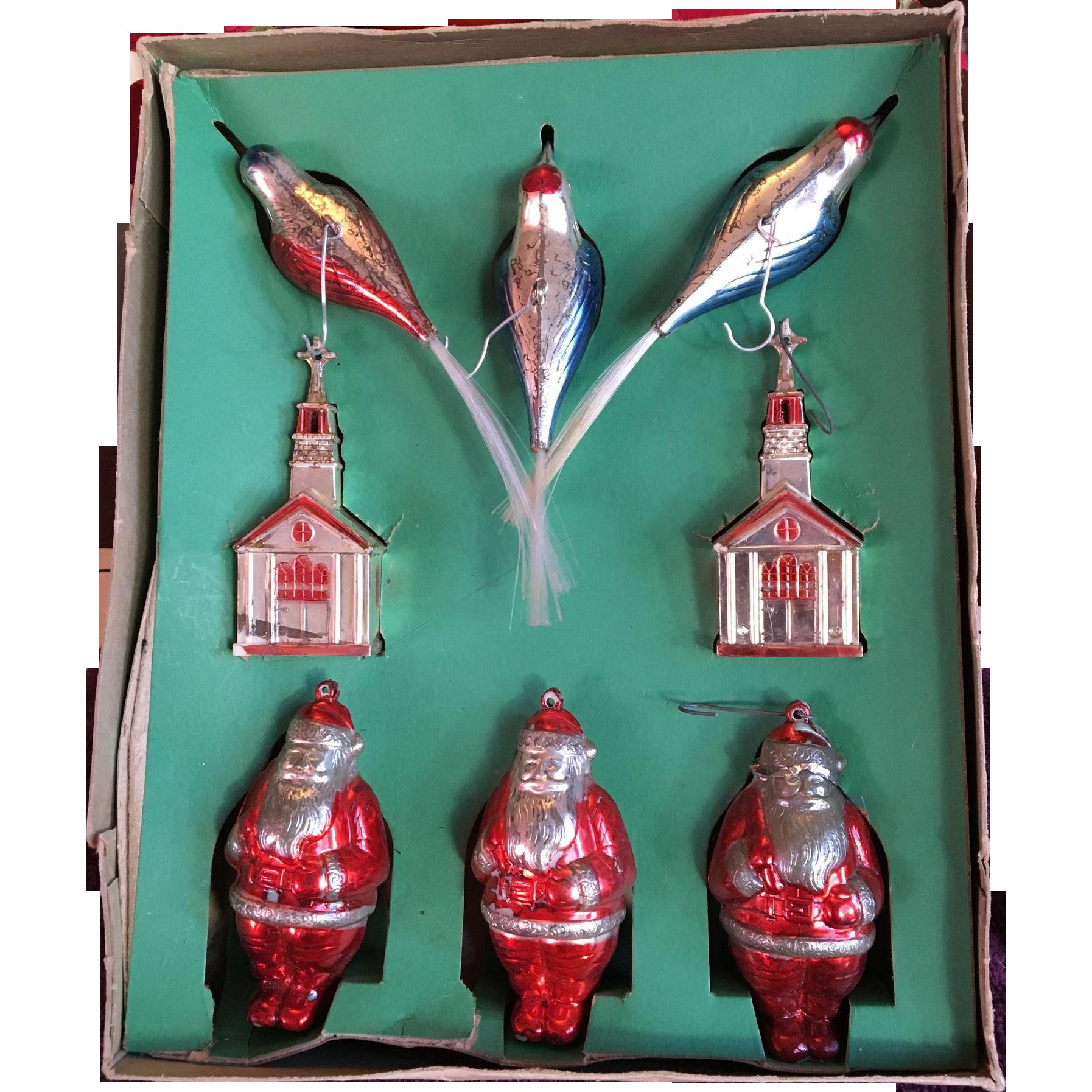 Shiny Brite Vintage Figural Ornaments in Original Box