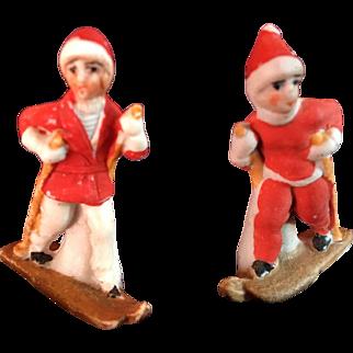 Vintage Bisque Porcelain Skiing Figurines