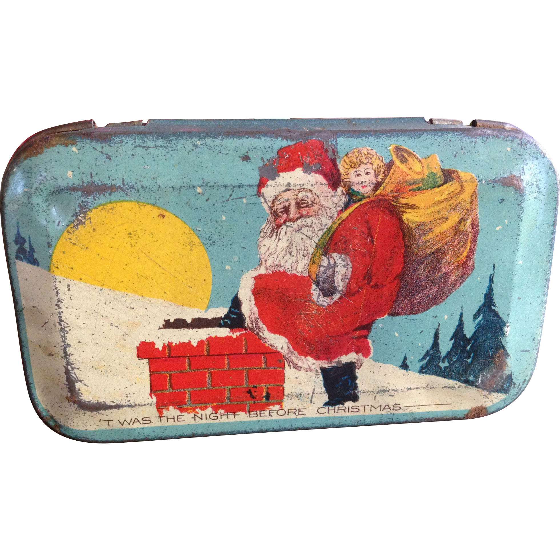 Santa Claus Night Before Christmas Candy Tin