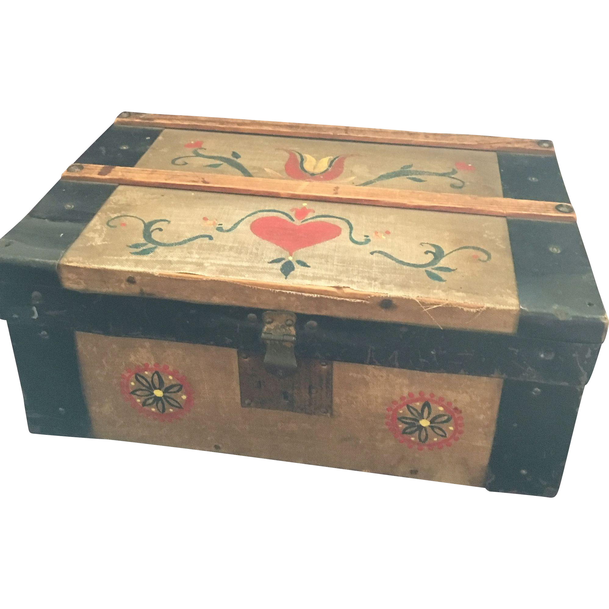 Miniature Tole Painted Doll Trunk