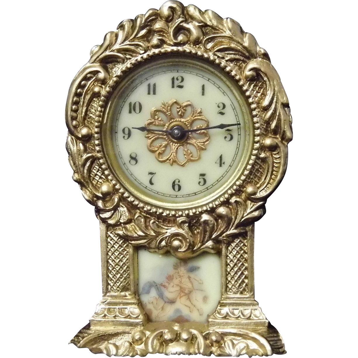 Antique Enamel Waterbury Miniature Shelf Mantle Clock