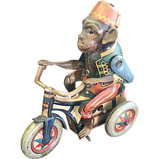Vintage German Tin Windup Monkey on Tricycle