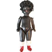 All Bisque German Black Doll with Glass Eyes