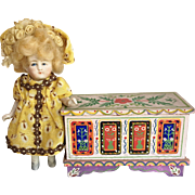 Cute All Bisque Doll and Chest