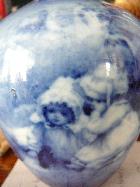Royal Doulton Babes in the Woods Blue Glaze Vase