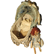 Wooden Peg Doll Baby in Crib