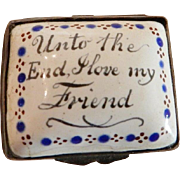 Bilston Battersea Staffordshire Enamel Motto Patch Box