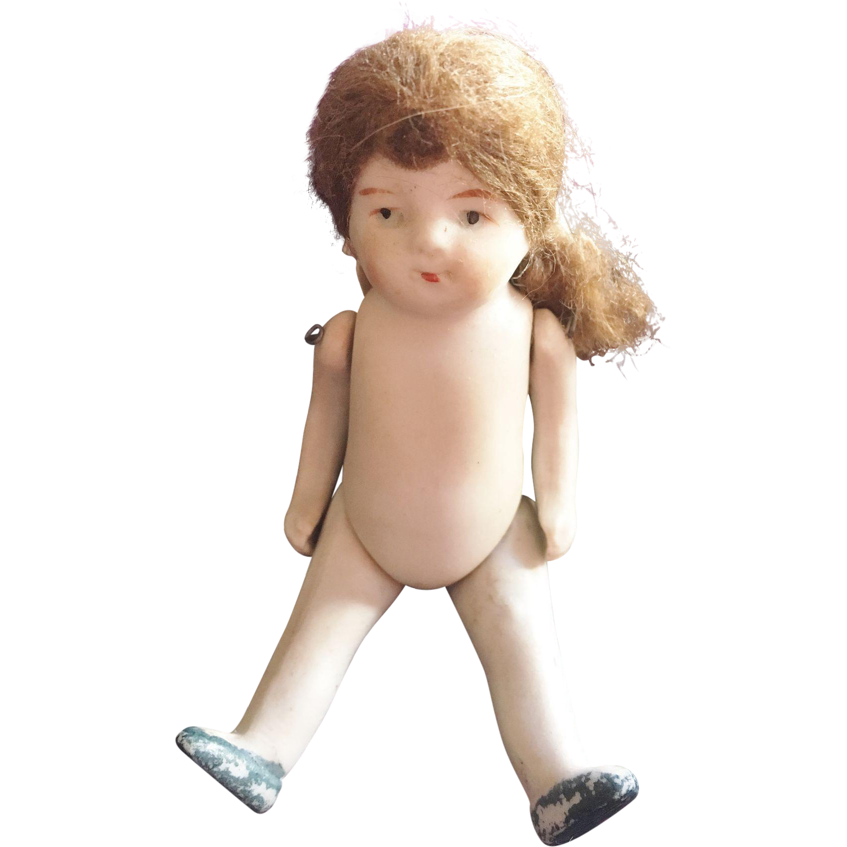 Tiny Jointed All Bisque Doll