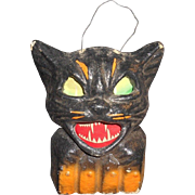 Paper Mache German Black Cat Halloween Lantern