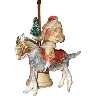 Spun Cotton & Scrap Boy on Horse or Donkey with Christmas Tree Ornament