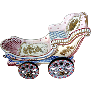Large Porcelain Capodimonte Doll Carriage