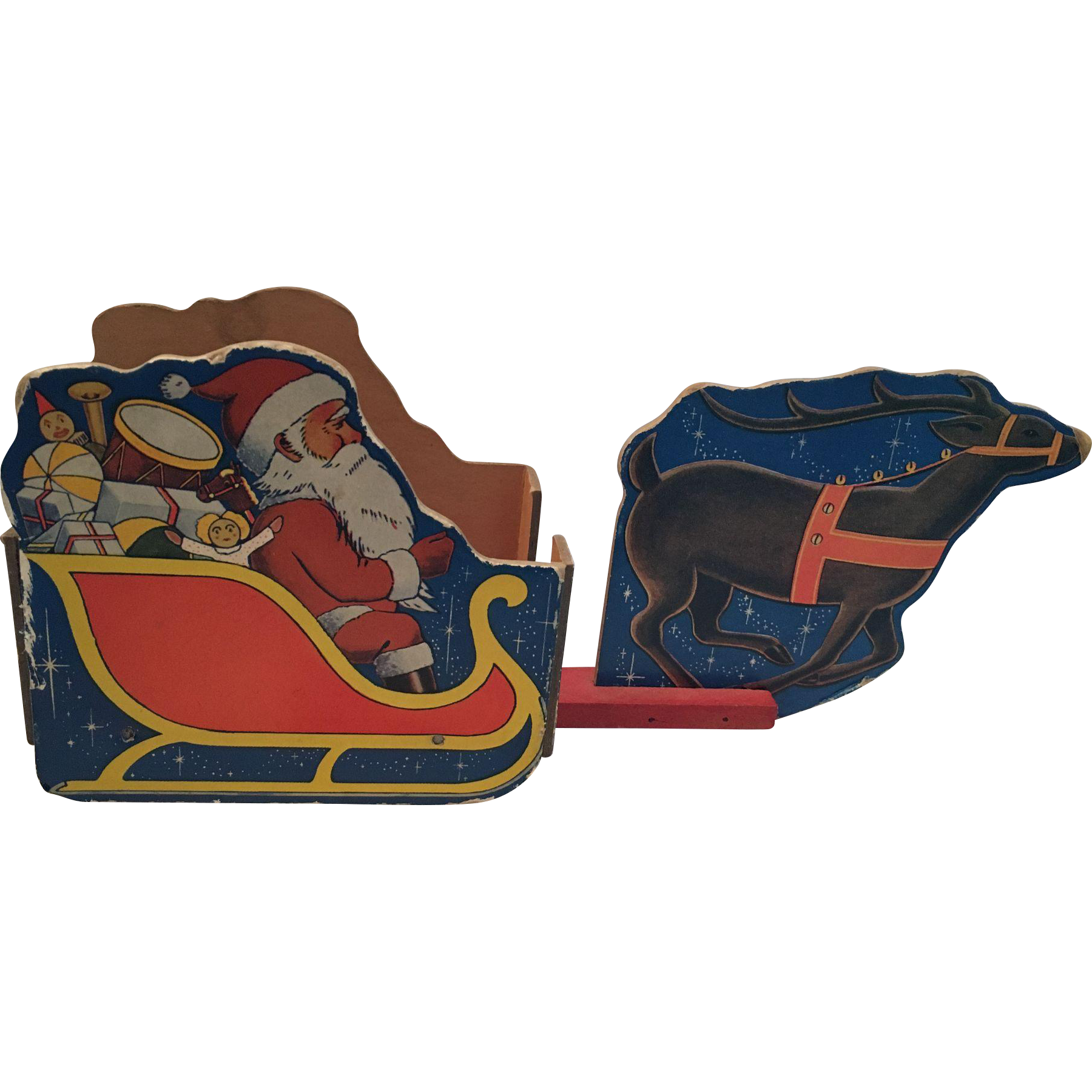 Vintage Santa in Sleigh with Reindeer Candy Container