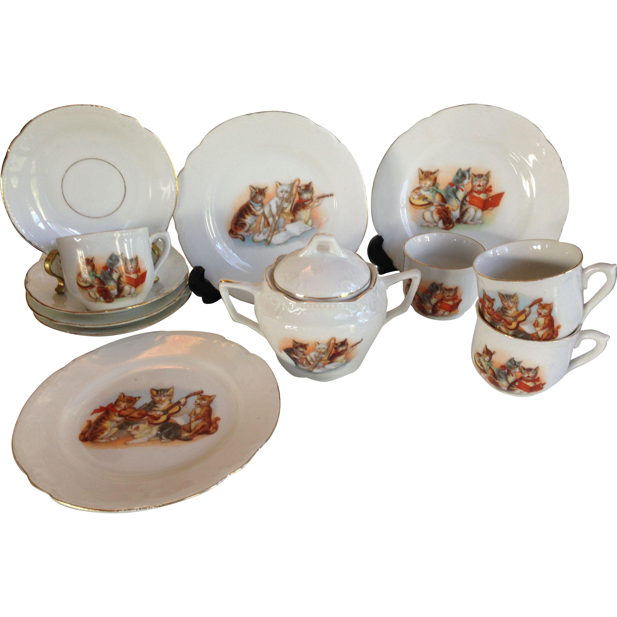 German Cat Kittens Partial Child's Tea Set