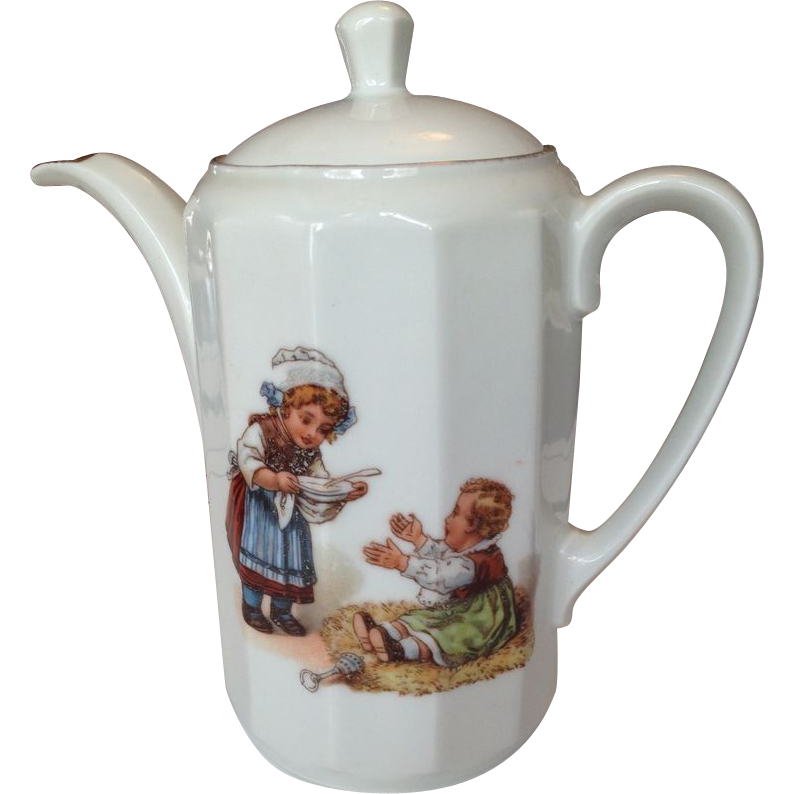 Porcelain Child's Teapot with Adorable Scene