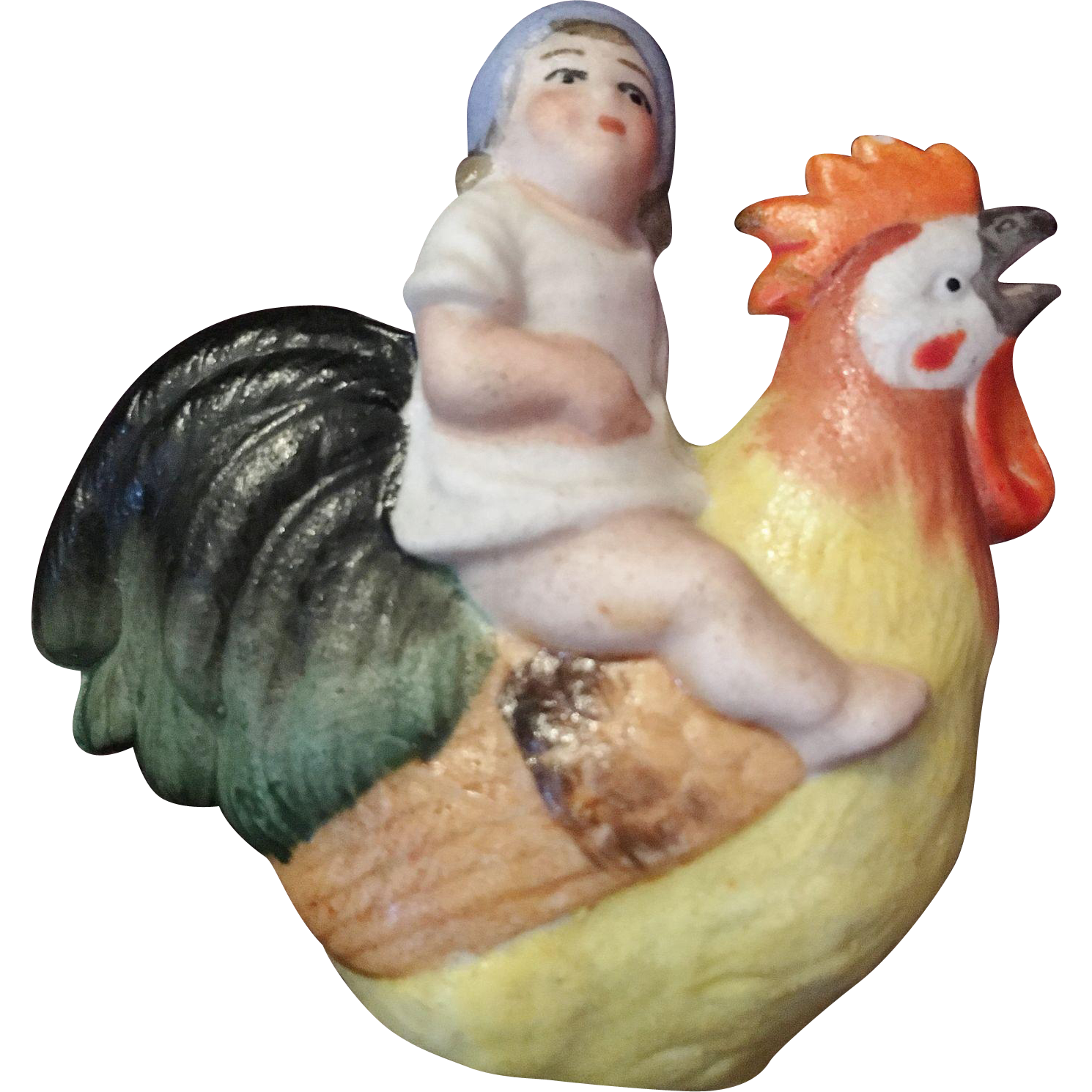 Adorable Figurine of a Little Child Riding a Rooster
